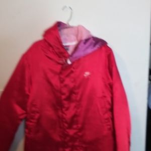 A Nike long red jacket